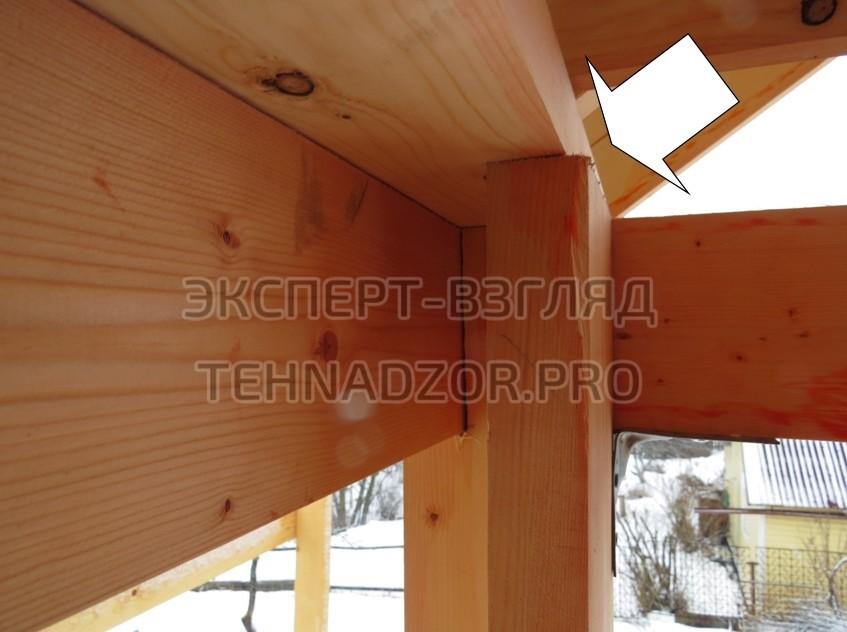 Каркасный дом ошибки - Опорная стойка имеет сдвиг опоры от плоскости обвязочной доски