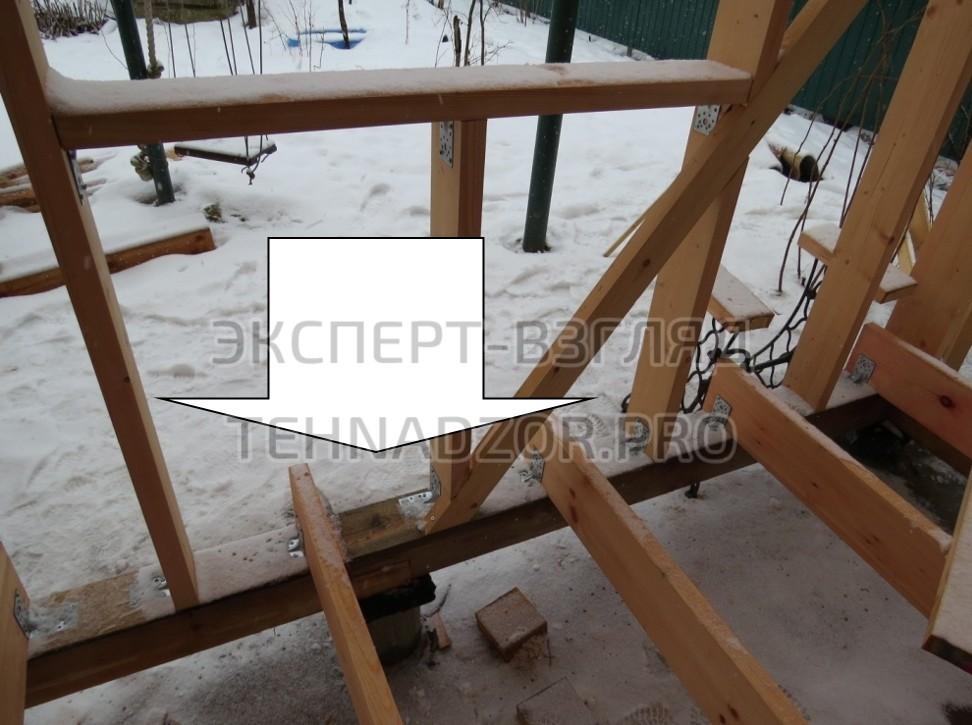 В конструктиве силового каркаса этажа отсутствуют основные несущие элементы, отсутствие которых является существенной ошибкой при строительстве каркасного дома